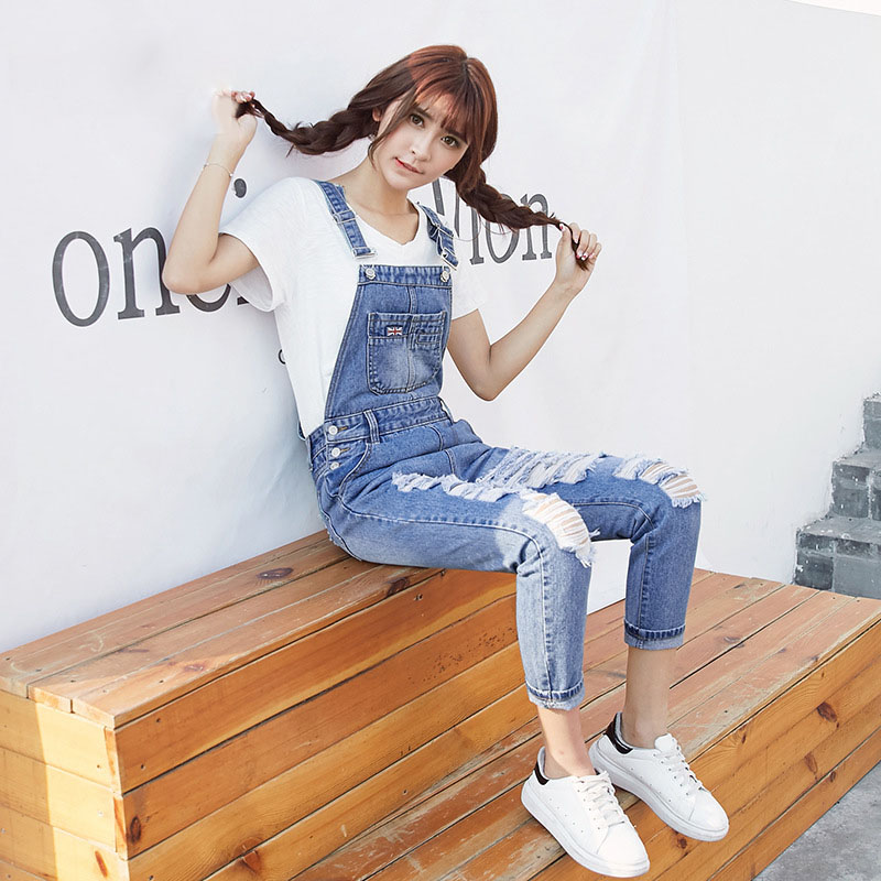 QA1238 Korean style creative hole ripped jeans women high waist loose overalls female new denim pants high waist jeans rushed cotton zipper fly high plaid loose 2016 korean women summer new straight scraping hole cutoff jeans