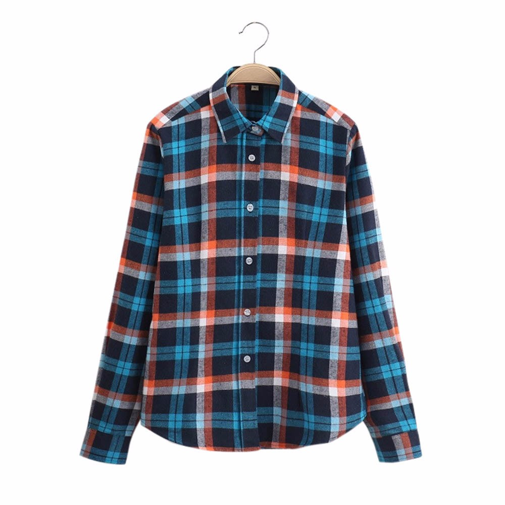 Long Sleeve Print Chiffon Large Size Women Long Sleeve Cotton Tops Wild Plaid Shirt Blouse Streetwear W9326