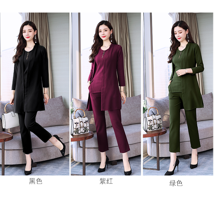 Spring Autumn 3 Piece Set Women Long Coat T-shirt And Pants Sets Casual Elegant Three Piece Sets Suits Women's Costumes 46