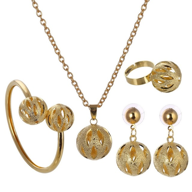 08ff3bc73ab67b Unique Design Ball Pendant Set Wholesale Gold ColorTrendy Party Bridal  Jewelry Sets For Women Wedding