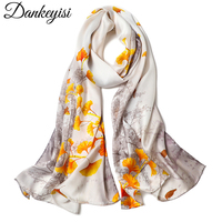 DANKEYISI Pure Silk Women Scarf Female Long Hand Rolled Silk Scarves Floral Printed Shawl Women Genuine Natural Silk Scarf Shawl