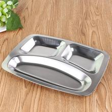 304 Stainless Steel 3 4 Sections Buffet Plate Separate Compartment Grids Lunch Dinner Dishes Tableware Canteen Supplies
