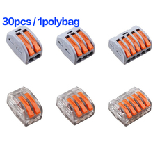 (30 pcs)PCT-212 213 215 (10pcs 2P 10pcs 3P 10pcs 5P) Universal Compact Wire Connector Conductor Terminal Block Wago connectors 60pcs new type pct 212 213 214 20pcs 2p 20pcs 3p 20pcs 4p universal compact wire connector conductor terminal block