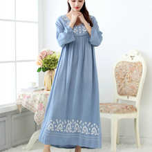 Spring and Autumn Sleepwear Women's Cotton Long Nightgown Lo