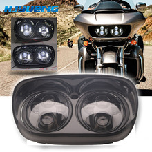 купить Black Road Glide Projection LED Headlight Conversion Kit w/Halo Rings for 2004-2013 Road Glide 5.75inch Double Led headlight дешево