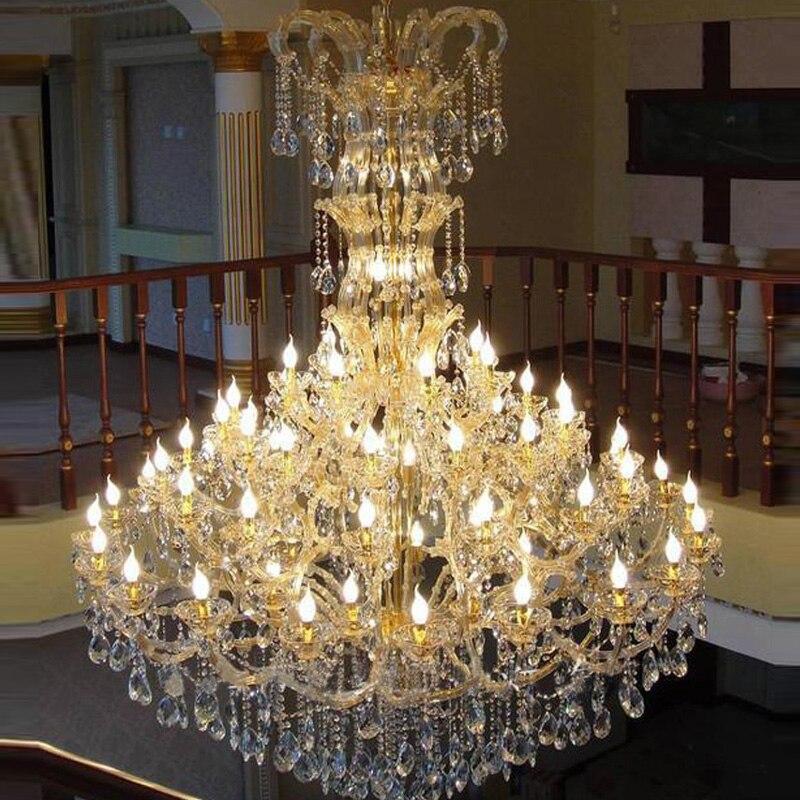 Большая вилла люстра Европейский кристалл лампы Роскошные свечи лампу многослойная Свадебные украшения лампы indoor свет люстры