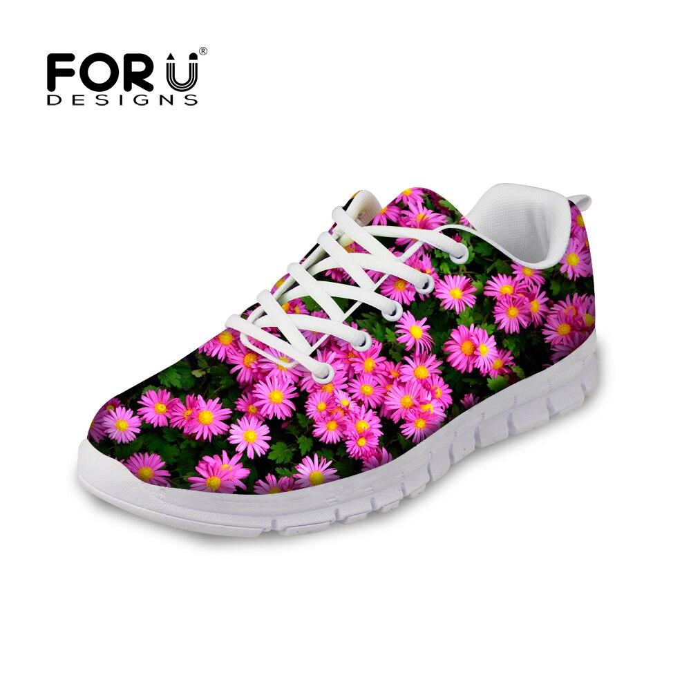 ФОТО FORUDESIGNS 6 Color Classic Women Flat Walking Shoes Fancy Flower Women Casual Shoes Lace-up Ladies Leisure Shoes Plus Size