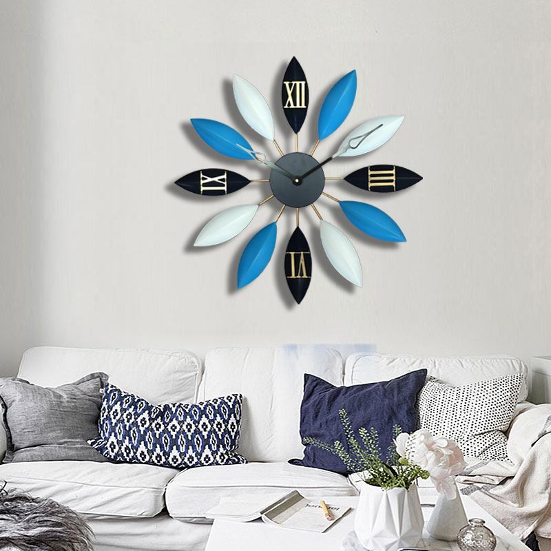 Wrought Iron Leaves 3D Clock Simple Creative Home Wall Clock Modern Design Bedroom Decorative Quartz Clock Clock On The Wall