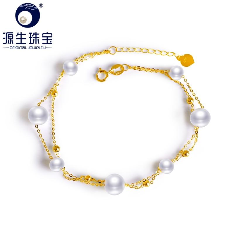 YS 4-5 18 6-7mm Peras Cultivadas de água doce Naturais Real K Ouro Amarelo Charm Bracelet Au750 pulseiras para As Mulheres