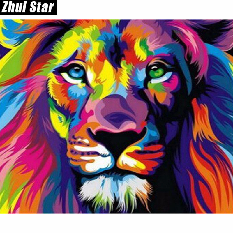 Nya 5D DIY Diamantmålning Färgglada Lionbroderi Full Fyrkantig Diamond Cross Stitch Rhinestone Mosaic Painting Wall Decor Gift