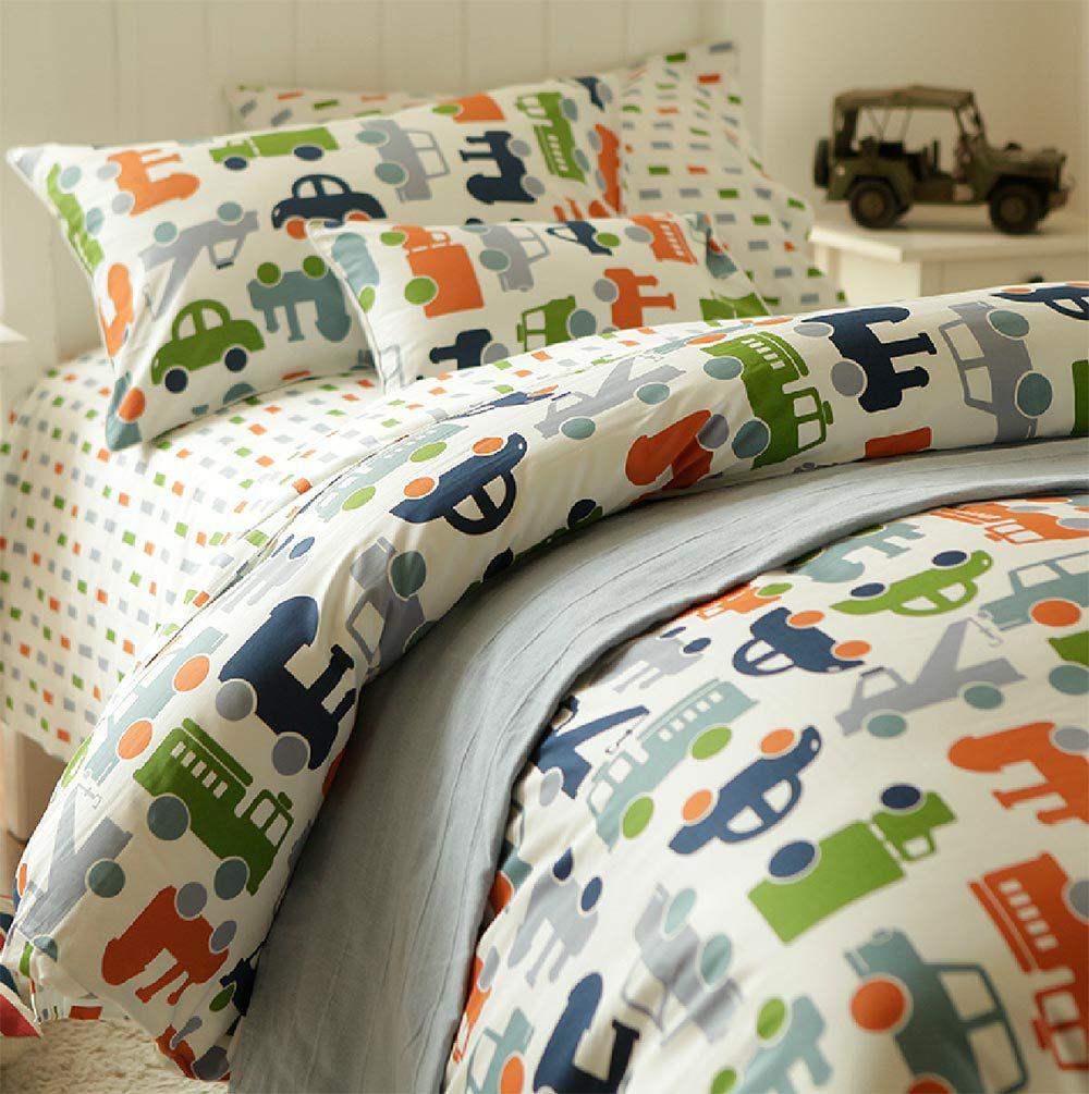 Cute cartoon car bedding set,twin full teenage kids boy