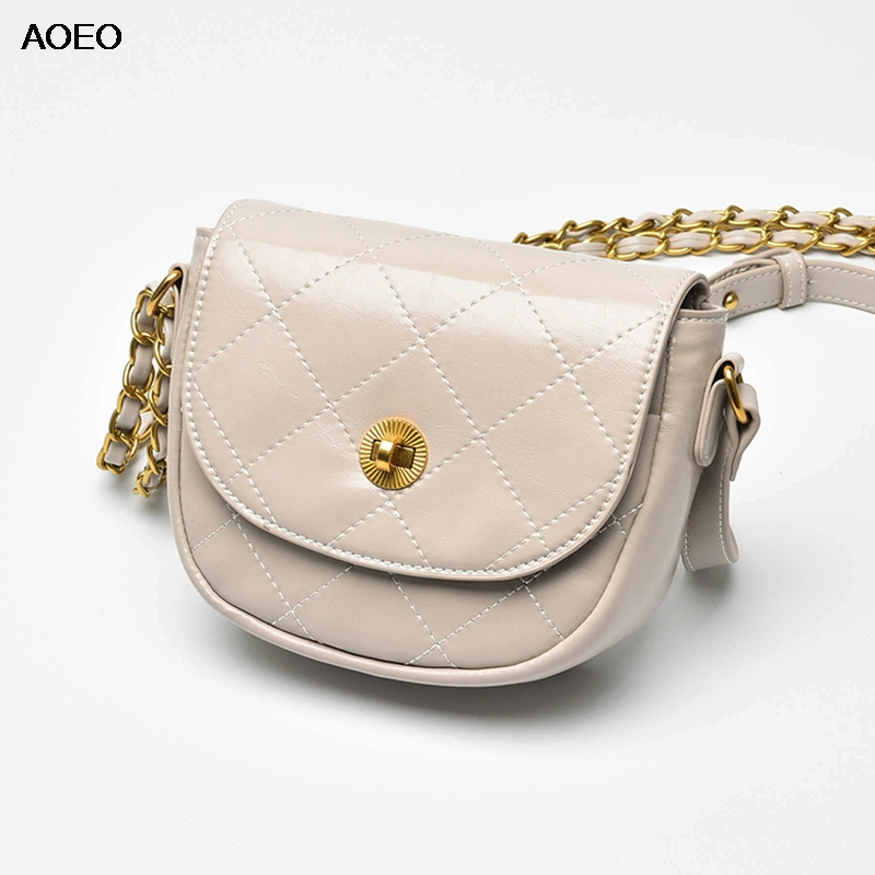 AOEO Saddle Bag Women Lattice Handbags Ladies High Quality Crossbody Bag Split Leather Chains Small Sling Shoulder Bag FemaleAOEO Saddle Bag Women Lattice Handbags Ladies High Quality Crossbody Bag Split Leather Chains Small Sling Shoulder Bag Female