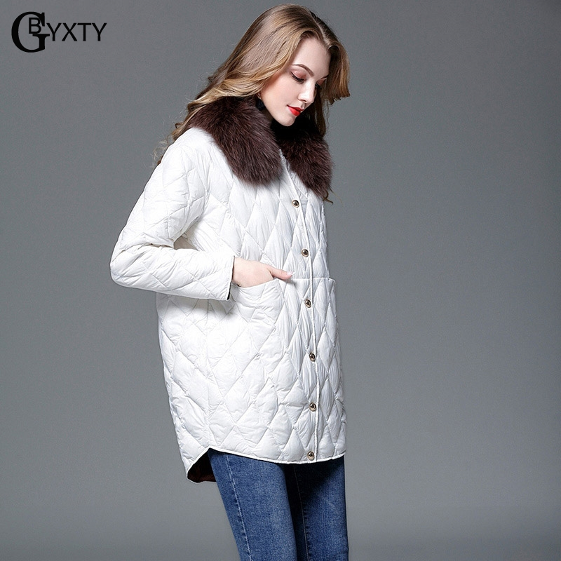 GBYXTY Ultra Light Down Jacket and Coat Women Autumn Winter Fox Fur Collar Duck Down Feather