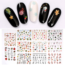 T-TIAO CLUB Christmas Santa Clause Nail Stickers 1 Set Art Slider Sticker 3D Adhesive Transfer Decal Winter Manicure Tips