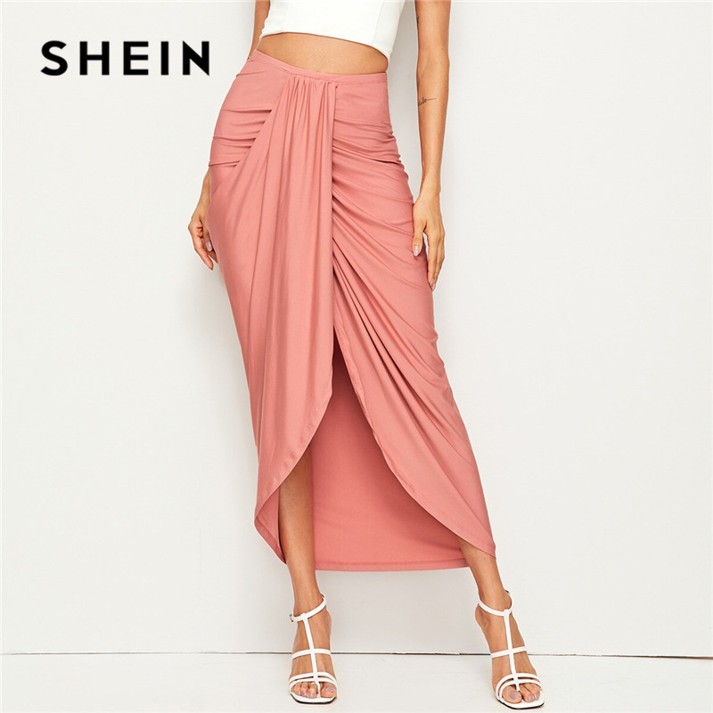 SHEIN Ladies Pink Draped High Waist Skirt Solid Asymmetrical Wrap Hem Summer Skirt Vacation Korean Style Women Long Skirt 1