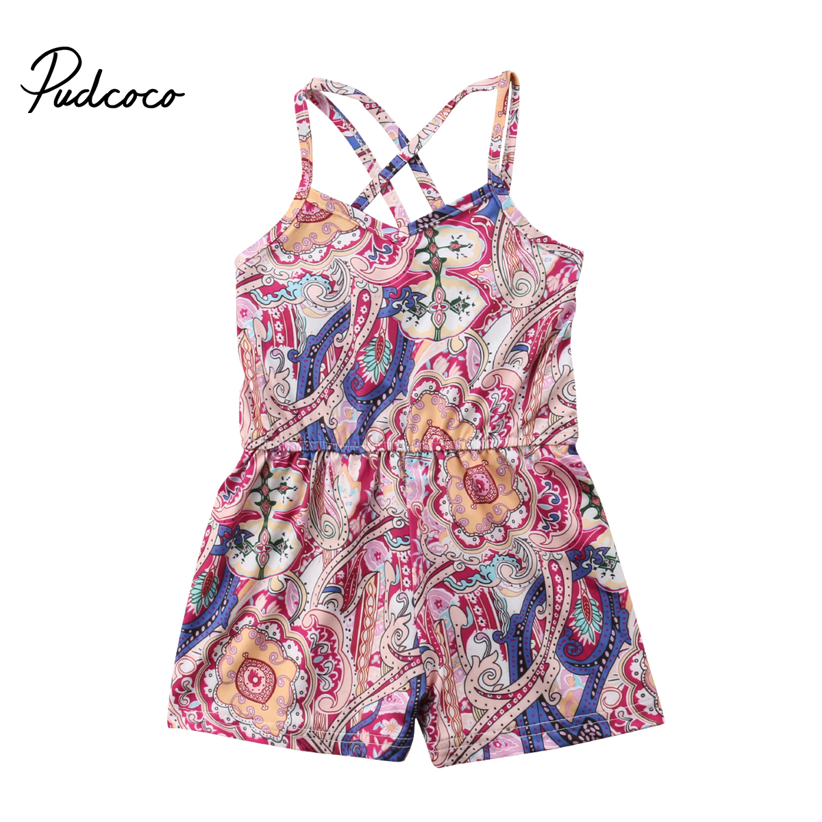 Pudcoco 2018 Casual Kids Baby Girls Romper Floral Braces Backless Boho Print Jumpsuit Sunsuit Summer Clothes Outfits 1-6T