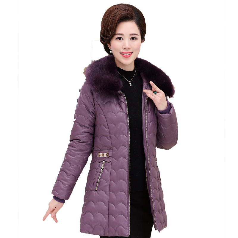 2017 Winter coat thicker women in the long paragraph Slim PU leather cotton clothing