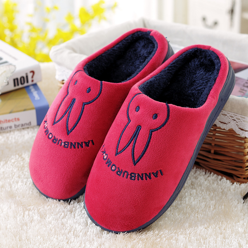 Women Winter Home Slippers Cartoon Rabbit Home Shoes Non-slip Soft Winter Warm Slippers Indoor Bedroom Loves Couple Floor Shoes