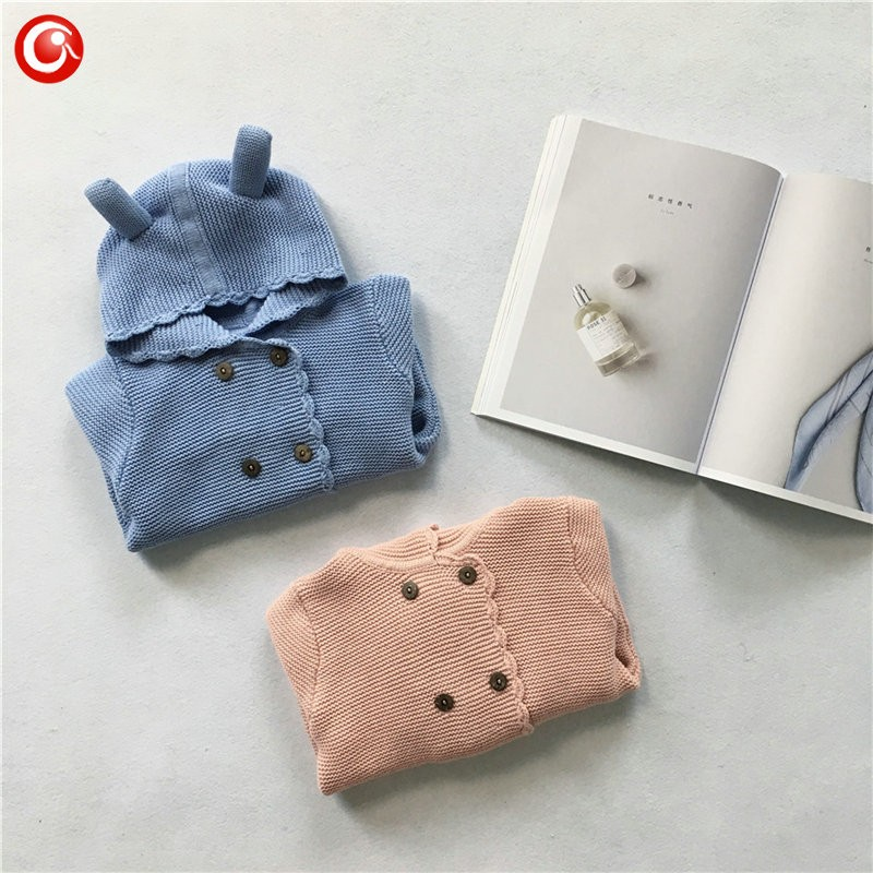 2016 AutumnWinter Kids Girls Hooded Cardigan Double Breasted Cotton Sweater For Children Boy Baby Girl Soft Knit Jumper Clothes (2)