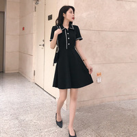 A line Short Sleeves Mini Black Dress Polo Collar Pearl Crystal Button Black and White Contrast Color Knitted Short Dress