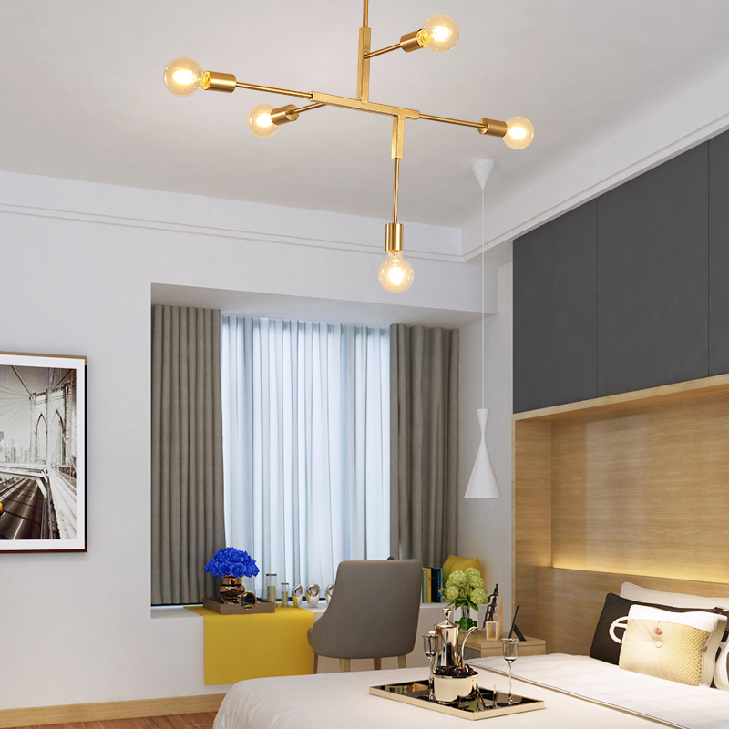 Nordic minimalist chandeliers ceiling light in gold Postmodern LED pendant lights Living room Kitchen island lighting modern E27 in Chandeliers from Lights Lighting