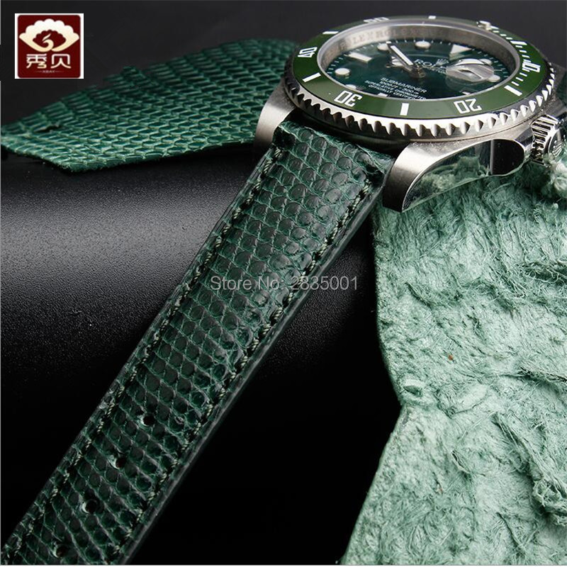Common Used New Genuine Leather Watchband Pin Buckle Dark green Lizard Leather Strap for Deepsea 20mm