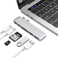 USB C концентратор Тип C Thunderbolt 3 док-станция 5 в 1 USB-C адаптер ключ комбинированный с USB 3,0 портами TF слот Micro SD карта для MacBook Pro