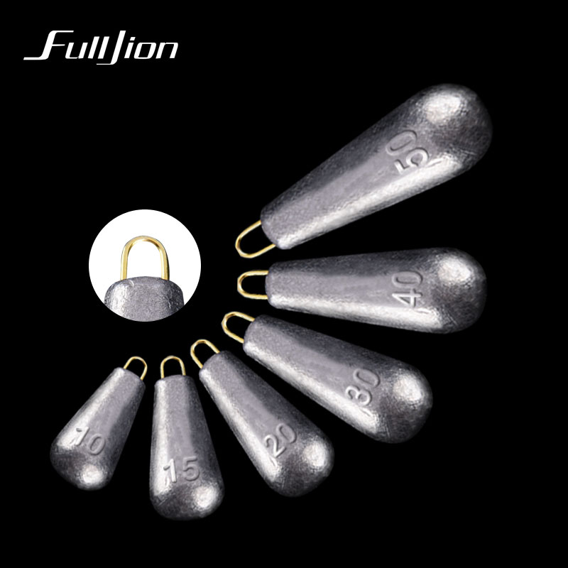 Fulljion Lead Sinkers Water Droplets Lead Weights Oval Split Shot Olive In Line Fishing Tackle Accessorie Hollow And Solid 2pcs(China)