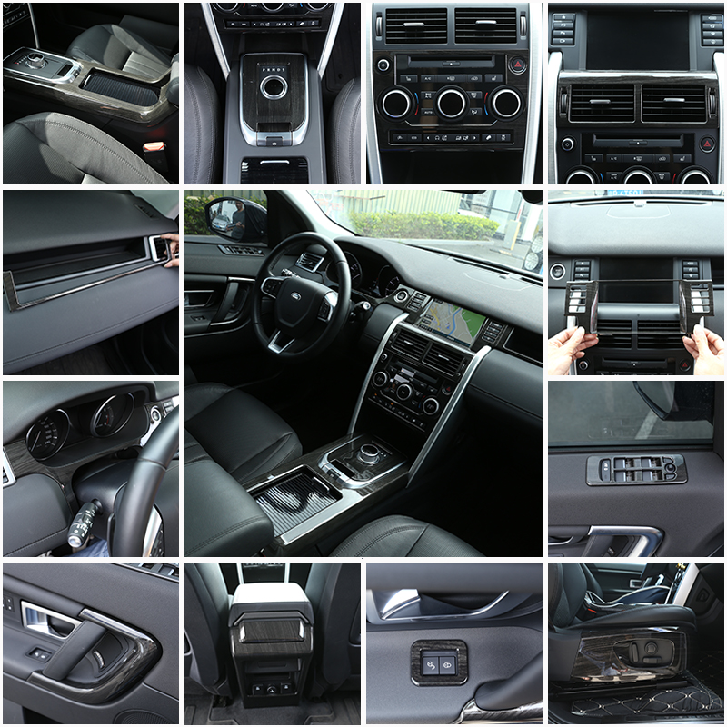 new entire console in black dark ash wood grain abs chrome trims for land rover discovery sport. Black Bedroom Furniture Sets. Home Design Ideas