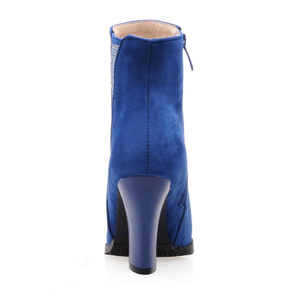 Karinluna 2018 büyük boyutları 31-43 yüksek topuklu dropship Bling batı çizmeler kadın ayakkabı zarif retro kadın ayakkabısı yarım çizmeler