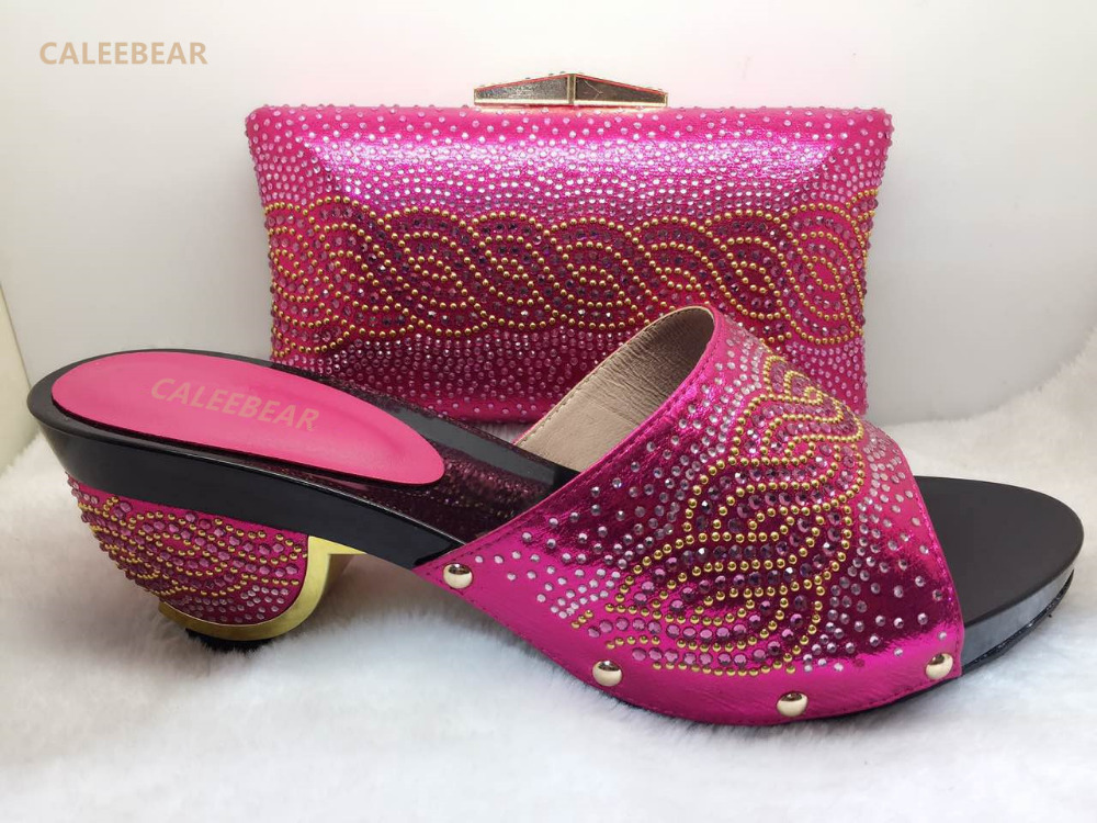 894ed21b98d favorite design fuschia ladies matching shoes and bag italy middle  heelsnice women pumps african wedding stones