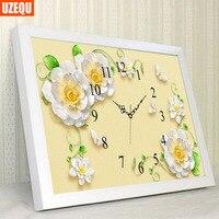 UzeQu Full Diamond Embroidery Flower Wall Clock DIY Diamond Painting Cross Stitch Clock Mosaic Round Rhinestones