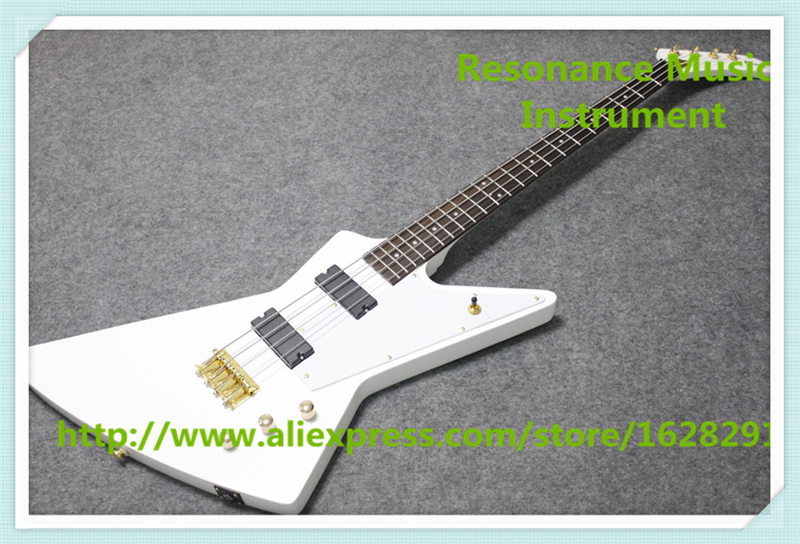 China Glossy White Finish 4 String Explorer Electric Bass Guitars With Gold Hardware For Sale finish bass guitars electric chinese 5 string bass butterfly bass guitar free shipping made in china