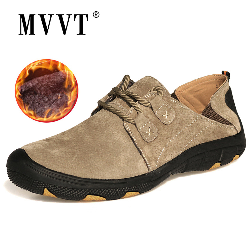 MVVT Comfort casual shoes men flats   suede     leather   men loafers shoes genuine   leather   shoes sapato masculino outdoor winter shoes
