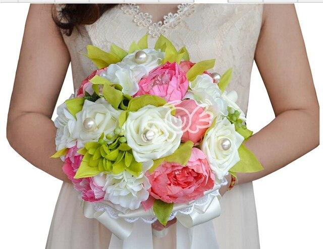 2017 Невесты Свадебный Букет Роскошные Дешевые Розовый и Цвета Слоновой Кости Свадебные Цветы Свадебные Букеты Искусственные Свадебный Букет Роз