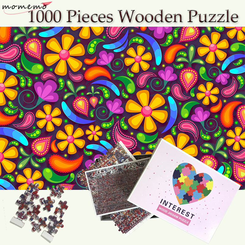 MOMEMO Flower Wooden 1000 Pieces Puzzles Jigsaw Puzzles Adults 1000 Pieces Puzzle Wooden Puzzle Games Teenagers Kids Toys Gift