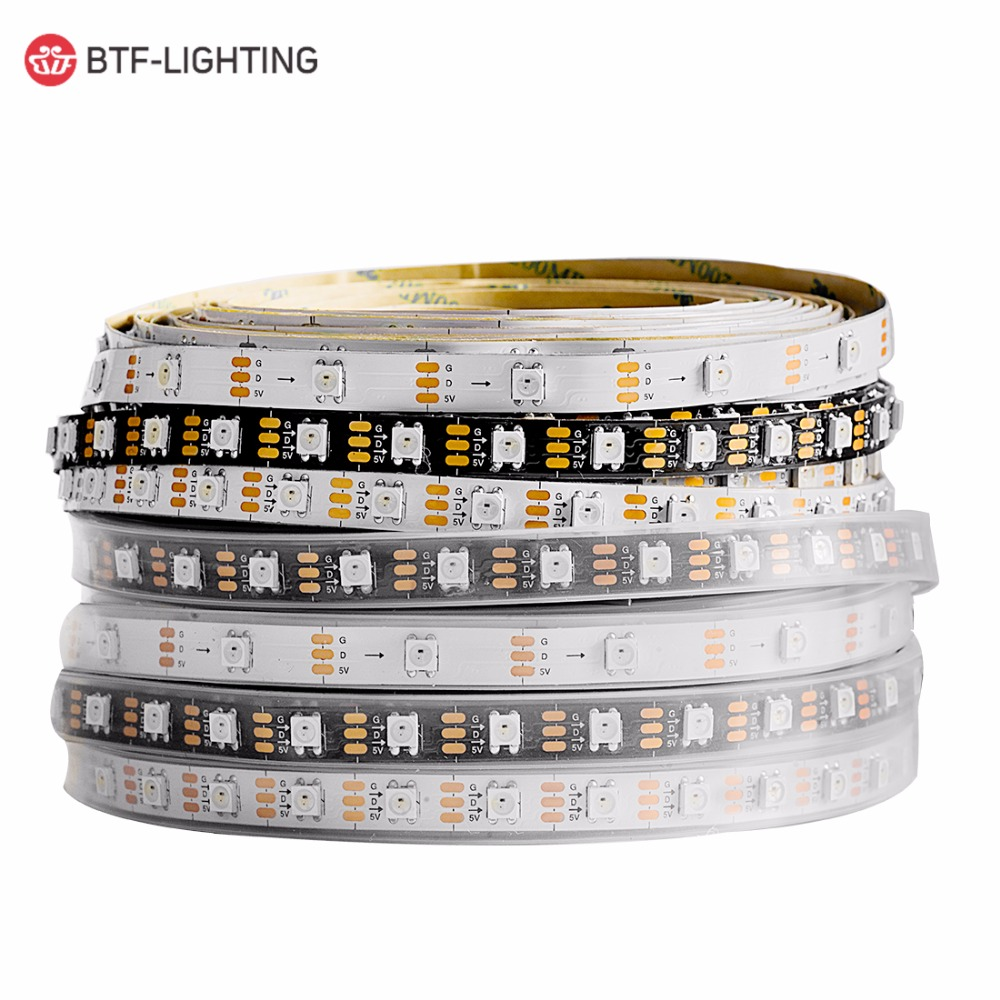 WS2812B 1m/2m/5m 30/60/100/144 Pixels/leds/m TV RGB Led Strip Light Individually Addressable Black/White PCB WS2812ECO  IC DC5V