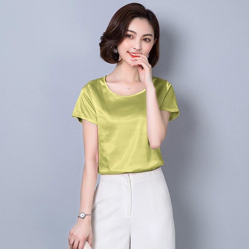 O-Neck Fashion Woman Blouses 2018 Plus Size Women Clothing Solid Satin Imitated Silk Basic Bottoming Shirts Summer Tops Femme 3