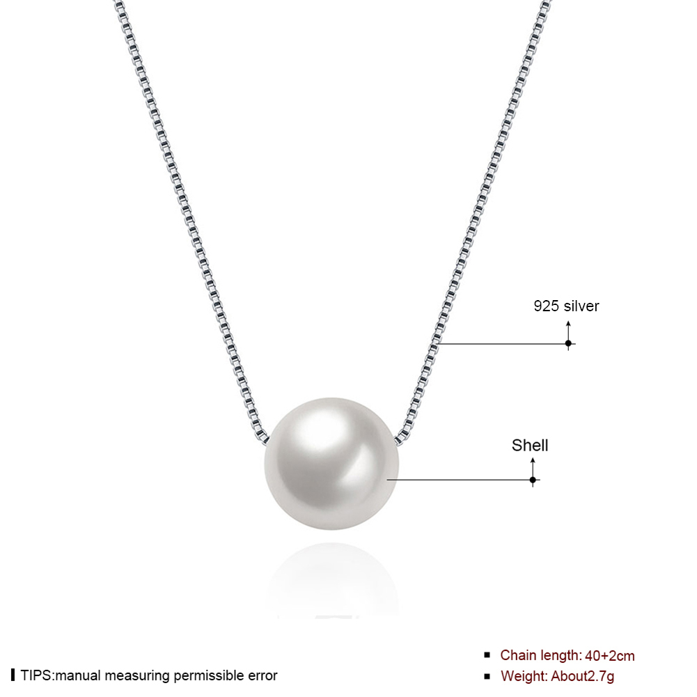 Ann & Snow Simple Ladies Jewelry 925 Sterling Silver Necklace White Shell Pearl Pendant Necklaces Fashion Gift Accessories