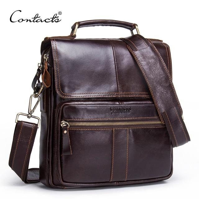 CONTACT'S Brand Design Genuine Leather Shoulder Bag Men Crossbody Messenger Bags Vintage Men's Handbag Bolsos Male For 9.7