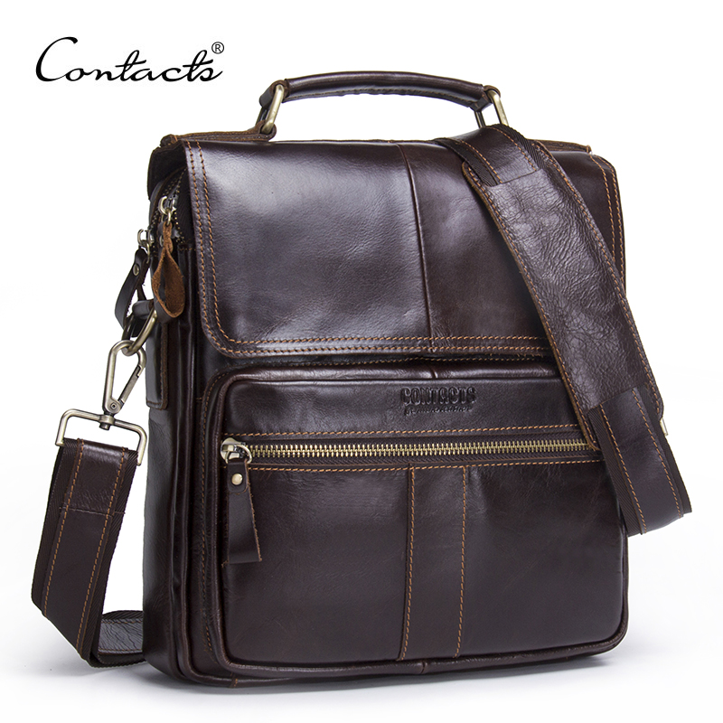 CONTACT S Brand 2018 NEW Genuine Leather Shoulder Bag Men Messenger Bags Zipper Design Men Commercial