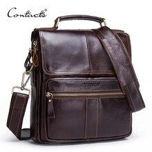 Контакта бренд 2018 Новый пояса из натуральной кожи сумка для мужчин курьерские сумки на молнии дизайн деловой портфель