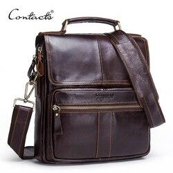 CONTACT'S Brand Design Echt Lederen Schoudertas Mannen Crossbody Messenger Bags Vintage mannen Handtas Bolsos Man Voor 9.7 ipad