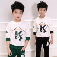 Kids Big Boy T Shirt Clothes Sets For Boys 2018 Autumn New Baby Boys Set New Trend Casual K Word Printing 2pcs Sport Suit