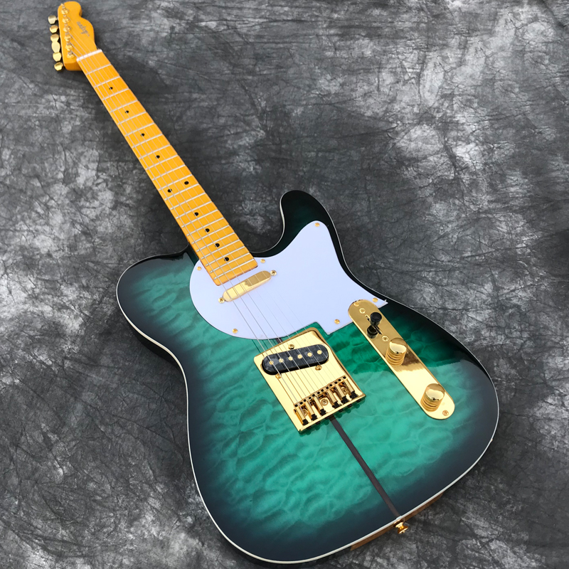 Custom Shop Green burst Electric Guitar with Quilted Maple top High Quality Gold Hardware Guitarra All