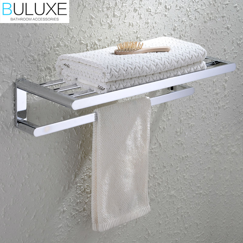 BULUXE Brass Bathroom Accessories Towel Bar Rack Holder Chrome Finished Wall Mounted Bath Acessorios de banheiro HP7743