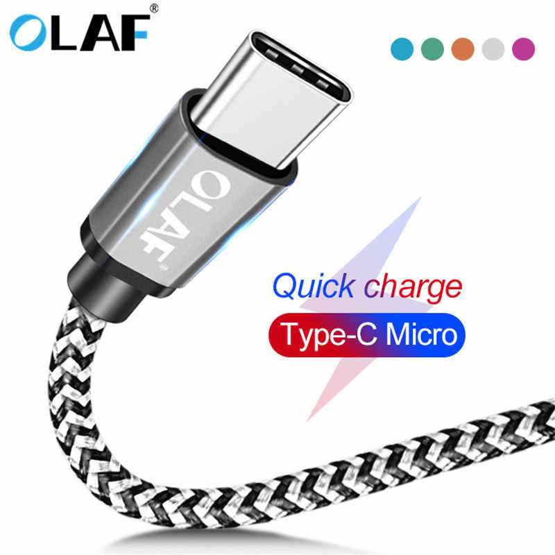 OLAF Micro USB Cable 1M 2M 3M Type C USB C Cable For Samsung Huawei Xiaomi Fast charging USB Cable For iPhone 7 X Xs Data Cord