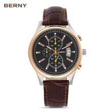 Берни 2017 новый многофункциональный кварцевые мужские часы Топ Марка роскошные виды противоударный водонепроницаемый светящийся кожаный наручные часы