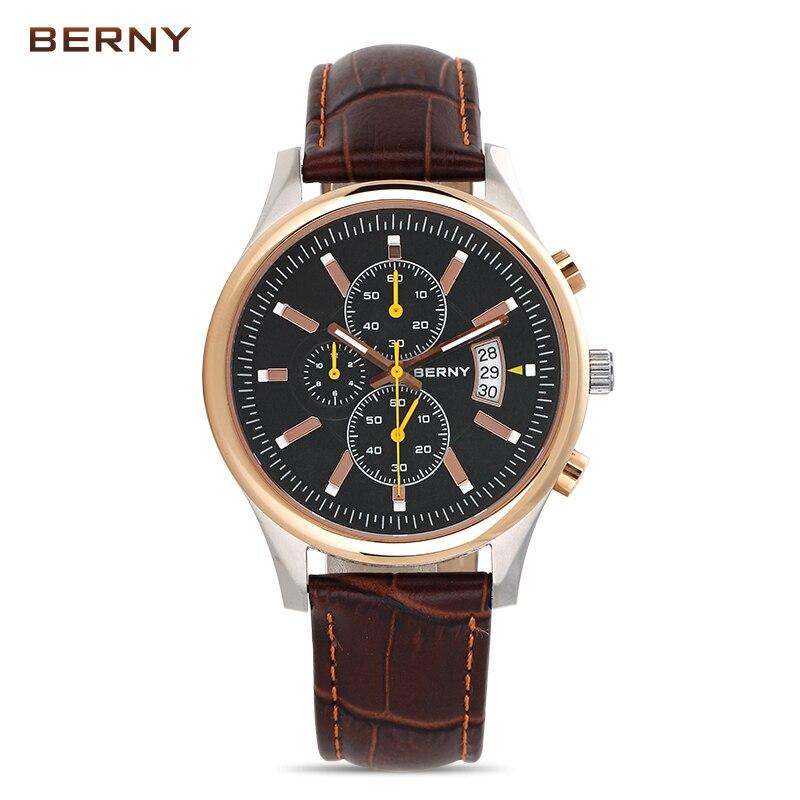 Berny hommes Montre Quartz hommes montres haut tendance marque de luxe Relogio Saat Montre Horloge Masculino Erkek Hombre japon mouvement