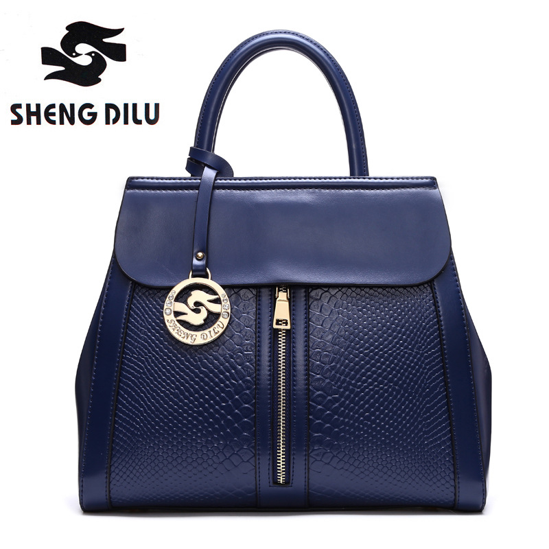 ShengDiLu Women Genuine Leather Plaid Messenger Bags Sac a Main Shoulder Bags Women Crossbody Bag Ladies High Quality Handbags women genuine leather messenger bags sac a main shoulder bags women crossbody bag ladies high quality cow leather handbags